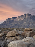 Guadalupe Peak and El Capitan at Sunset  Guadalupe Mountains National Park  Texas  USA