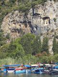 Lycian Tombs of Dalyan with Boats Below  Dalyan  Anatolia  Turkey  Asia Minor  Eurasia