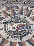 Pavement Map Showing Routes of Portugese Explorers Below Monument to Discoveries  Lisbon  Portugal