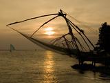 Chinese Fishing Nets at Sunset  Kochi (Cochin)  Kerala  India  Asia