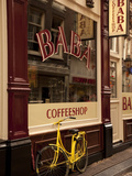 Bicycle Outside Coffee Shop  Amsterdam  Holland  Europe