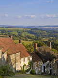 Gold Hill  and View over Blackmore Vale  Shaftesbury  Dorset  England  United Kingdom  Europe