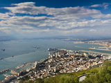 Bay of Gibraltar and Gibraltar Town from the Top of the Rock  Gibraltar  Europe