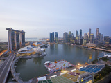 The Helix Bridge and Marina Bay Sands  Elevated View over Singapore  Marina Bay  Singapore