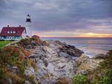 Portland Head Lighthouse at Sunrise  Portland  Maine  New England  USA  North America