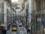 Tram in the Old Town  Lisbon  Portugal  Europe