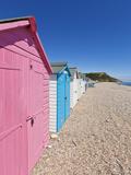 Multicoloured Beach Huts at Seaton  Devon Heritage Coast  UNESCO World Heritage Site  England