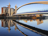 Early Morning View of the Millennium Bridge  Salford Quays  Manchester  Greater Manchester  England