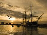 Sunset over the Hard and Hms Warrior  Portsmouth  Hampshire  England  United Kingdom  Europe