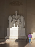 The Statue of Lincoln in the Lincoln Memorial Being Admired by a Young Girl  Washington DC  USA