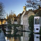 Canal View with Belfry in Winter  Bruges  West Vlaanderen (Flanders)  Belgium  Europe