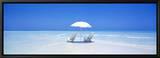 Beach, Ocean, Water, Parasol and Chairs, Maldives Tableau sur toile encadré