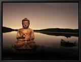 Bouddha couleur or au bord du lac Tableau sur toile encadré par Jan Lakey