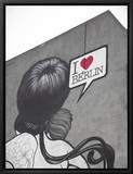I love Berlin, peinture murale sur un immeuble, Berlin, Allemagne Tableau sur toile encadré par Jon Arnold