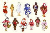 Goldilocks and three Bears Collage Reproduction d'art par Zelda Fitzgerald