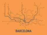 Barcelona (Orange & Gray) Sérigraphie par LinePosters