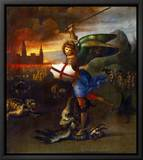 The Archangel Michael Slaying the Dragon Tableau sur toile encadré par Raphael