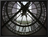 View Across Seine River from Transparent Face of Clock in the Musee d'Orsay, Paris, France Tableau sur toile encadré par Jim Zuckerman