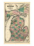 1881  Michigan State Map  Wisconsin  United States