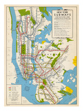 1949, New York Subway Map, New York, United States Giclée premium
