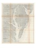 1866, Chesapeake Bay and Virginia's Eastern Shore Chart Virginia, Virginia, United States Giclée