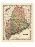 1855, Maine State Map 1855, Maine, United States Giclée
