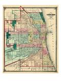 1875  Chicago City Map  Illinois  United States
