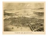 1870  Boston Bird's Eye View on July 4th  Massachusetts  United States