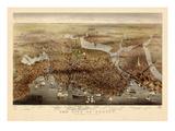 1873, Boston Bird's Eye View, Massachusetts, United States Giclée