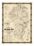 1860, Anne Arundel County Wall Map, Maryland, United States Giclée