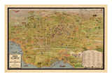 1932, Los Angeles Tourist Map, California, United States Giclée