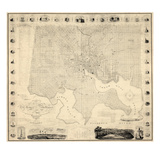 1822, Baltimore Wall Map, Maryland, United States Giclée