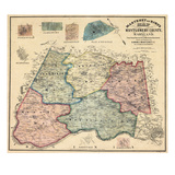 1865, Montgomery County Wall Map, Maryland, United States Giclée