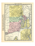 191x, Rhode Island State Map With Providence Inset, Rhode Island, United States Giclée
