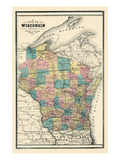1889  State Map  Wisconsin  United States