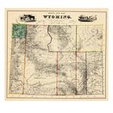 1883, Wyoming 1883 State Map, Wyoming, United States Giclée