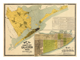 1891  Galveston County Wall Map  Texas  United States