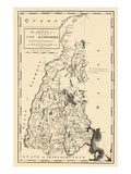 1794, New Hampshire State Map, New Hampshire, United States Giclée