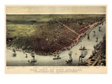 1885, New Orleans Bird's Eye View, Louisiana, United States Giclée