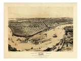1851, New Orleans Bird's Eye View, Louisiana, United States Giclée