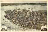 1872, Charleston Bird's Eye View, South Carolina, United States Giclée