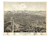 1874, Kalamazoo Bird's Eye View, Michigan, United States Giclée