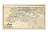 1925, Seattle Bird's Eye View, Washington, United States Giclée
