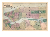 1873, New York and Brooklyn Cities Central Portions Map, New York, United States Giclée