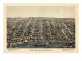 1863, Alexandria Bird's Eye View, Virginia, United States Giclée