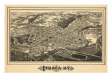 1882, Ithaca Bird's Eye View, New York, United States Giclée