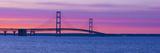 Silhouette of a Suspension Bridge at Sunset  Mackinac Bridge  Michigan  USA