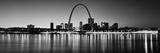 City Lit Up at Night, Gateway Arch, Mississippi River, St. Louis, Missouri, USA Papier Photo