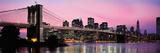 Brooklyn Bridge across the East River at Dusk  Manhattan  New York City  New York State  USA