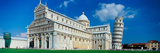 Facade of a Cathedral with a Tower  Pisa Cathedral  Leaning Tower of Pisa  Pisa  Tuscany  Italy
